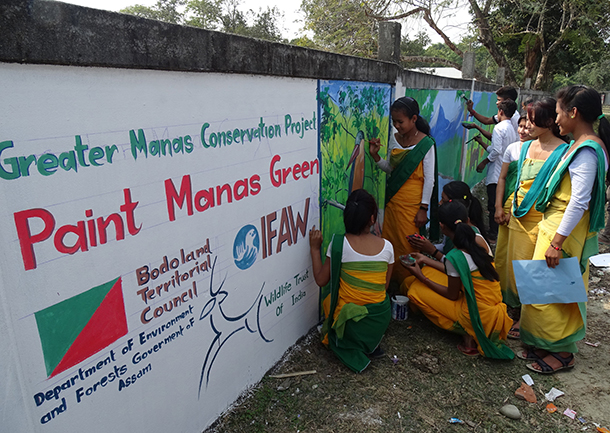 Students taking part in wall painting organised by IFAW-WTI, at Himgiri High & M.E School, Manas, Baksa.