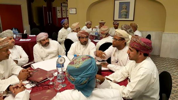 The participants of one of the working groups discussing how to improve the implementation of CITES in Oman.