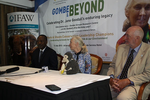 UN Messenger of Peace Jane Goodall holds a press briefing flanked by Ian Robinson, IFAW Vice President, Programs and International Operations, and James Isiche, Regional Director, IFAW East Africa.