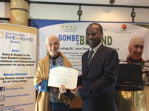 James Isiche on behalf of IFAW received a certificate of appreciation and participation from Dr. Goodall