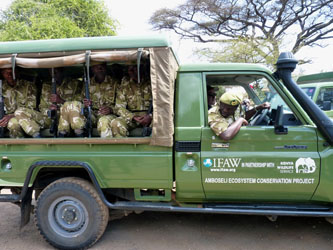 Kenya Wildlife Service teams in one of several new IFAW funded transport vehicles.