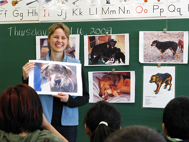 An IFAW humane educator, visits primary school classes to talk about humane treatment of dogs. Kids learn about when to approach a dog and when to leave them alone.