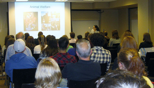 Author speaking to Tigers for Tigers audience at University of Missouri.