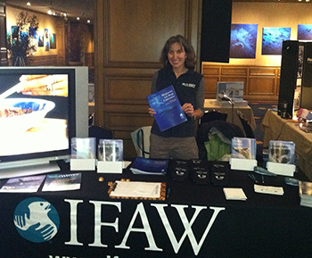 The author manning the IFAW stand at the BLUE Oceans Film Fest in Monterrey.