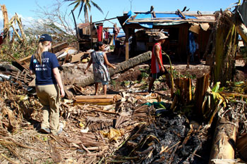 The author surveys the damage in Mindanao. c. IFAW/PAWS