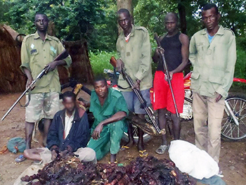 Rangers in Bouba Njida National Park with one of the 43 poachers the team has apprehended since July 1, 2013.