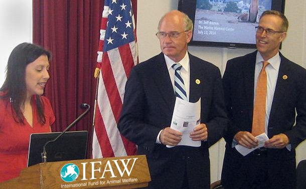 IFAW Campaigns Officer, Margaret Cooney, with Congressmen Keating and Huffman.