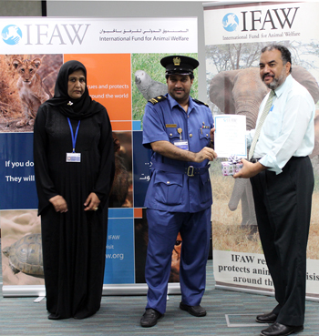 IFAW honored Mohammad Ghanem Almazrou'e; an officer with IFAW training who aborted an attempt to smuggle a large consignment of ivory.