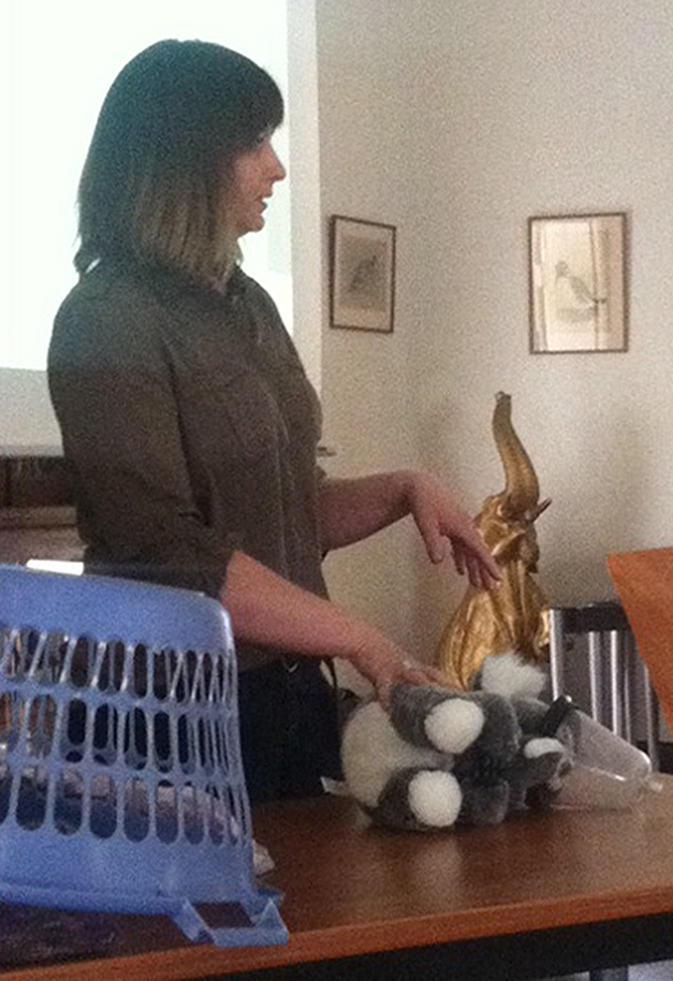 Fiona Ryan, Hospital Manager at Melbourne Zoo, demonstrates how to handle a koala during the wildlife handling workshop.
