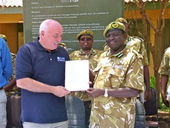 The author with Julius Kipng'etich, Director of Kenya Wildlife Service
