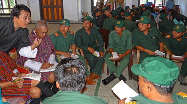 Bhutanese rangers engage in interactive training during their refresher course.