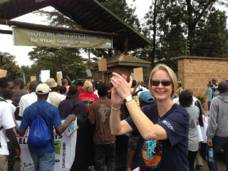 Erica Martin, VP Communications of IFAW, cheers as the Ivory Belongs to Elephants Only march reaches its destination at KWS headquarters in Nairobi. Picture Christina Pretorius/IFAW