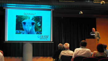 "IFAW Vice-President of Programs, Dr. Ian Robinson speaking during the University Federation for Animal Welfare (UFAW) symposium entitled ""Science in the service of Animal Welfare: Priorities around the world"" in Barcelona."