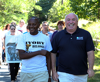 The author with Jim Nyamu as he departs IFAW headquarters on Cape Cod.