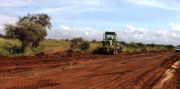 Teams working to form the Kitenden Access Road.