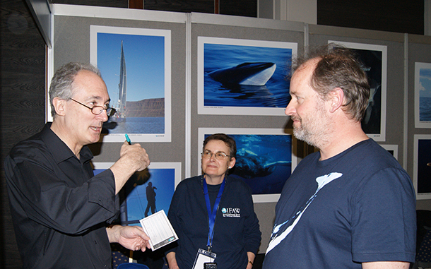 Hove MP Mike Weatherley shows his support for whales as he visits IFAW's stand at Whalefest.