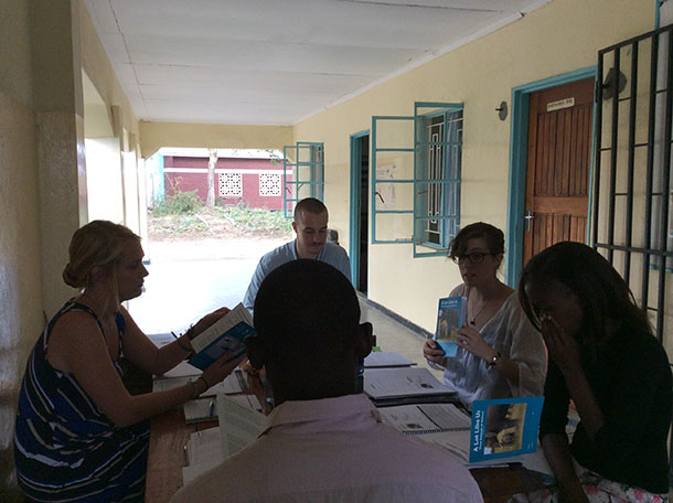 IFAW's Samantha Musser with the HELP Malawi volunteer coordinator, volunteers, and teacher trainees