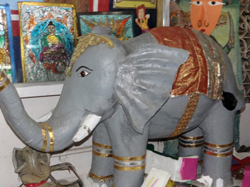 An 'Art for Elephants' papier mache elephant.