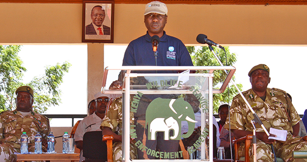 IFAW E. Africa Director James Isiche addressing the passing out parade of the KWS Law Enforcement Academy.