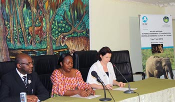 From left to right: Mr. T.J Chris Zekakany - Assistant Chief Prosecutor of Brazzaville, Mrs. Antoinette Nkabi - Counselor for wildlife and protected areas for the Minister of Sustainable Development, Forestry Economy and Environment (MDDEFE), Ms. Celine-Sissler Bienvenu - Director of IFAW France and Francophone Africa. c. IFAW