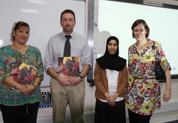 From left to right: Mrs. Gabriella Hajir (HCT-AAWC), Mr. Derek Fallon (HCT-AAWC), Miss Maha Oda (IFAW) and Mrs. Stacey Patton (HCT-AAWC).  Photographer: Mouza Al Shamisi