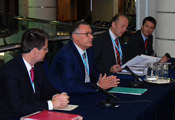 James Brokenshire, the UK Minister for Crime and Security, Robbie Marsland, Sir Hugh Orde, President of the Association of Chief Police Officers and David Higgins, who heads up Interpol's Environmental Crime Department.
