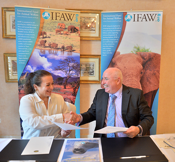 H.R.H. Princess Alia, seen here with Azzedine Downes - IFAW Chief Executive Officer – recently signed a partnership agreement with the International Fund for Animal Welfare (IFAW) to advance animal welfare in Jordan.