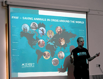 Jordi Casamitjana, Campaigns and Enforcement Manager, IFAW UK, giving a talk at the Isle of Wight Wildlife Day