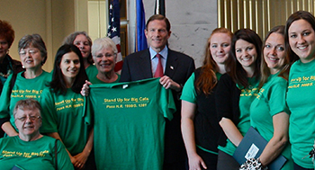 (Holding t-shirt) Senator Richard Blumenthal (D-CT) sponsor of the big cats bill.