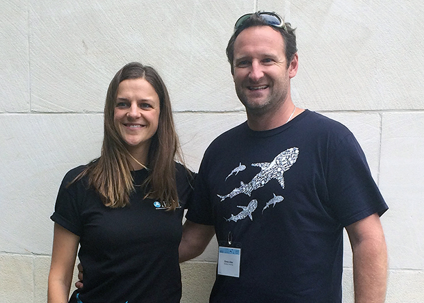 IFAW Marine Mammal Conservation and Animal Welfare Research Award winner, Simon Allen and IFAW Marine Campaigner Sharon Livermore.