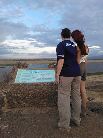 Delphine Waller, Miss France 2012, and Céline Sissler Bienvenu, Director of IFAW France and Francophone Africa, admire the view of Amboseli Park from a hill where IFAW and Kenya Wildlife Service information signs have been put up.