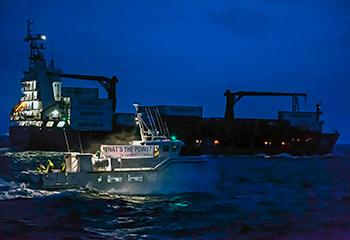 M. Loftsson a dû assister à la retransmission sur la chaîne nationale du retour de sa marchandise dans le port de Reykjavik, sous la huée des militants mobilisés par IFAW et Icewhale, la fédération islandaise des agences de tourisme baleinier.