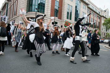 Artful Badger leads the recent #BadgerMarch in London.