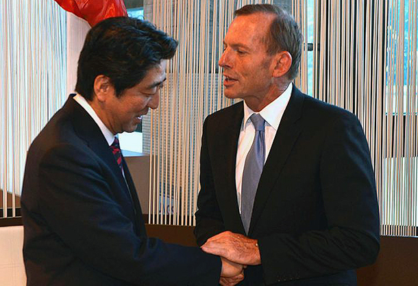 Will Tony Abbott and John Key raise whaling with Japanese PM, Shinzo Abe, when he visits our region? Image Source: Office of Tony Abbott.
