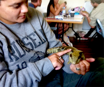 The author with a blue tongue lizard.