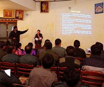The author in Bhutan, helped conduct four sessions, training and equipping about 150 frontline forest guards from seven protected areas and forest divisions.