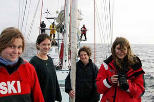 Tessa, Danielle, Susannah and Katrin on the foredeck.