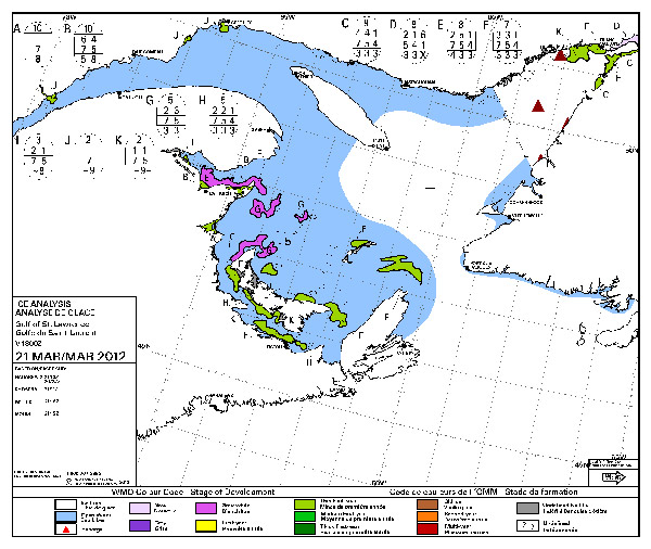 The Canadian Department of Fisheries and Oceans ice floe map.