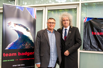 The author with Queen guitarist and animal welfare advocate, Brian May.