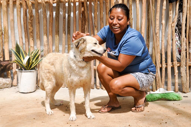 Pelusa is enjoying her new life as Marbella's guard dog and companion for her and her two babies.