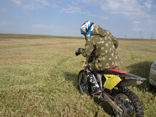 Brigades use dirt bikes to patrol the steppe.