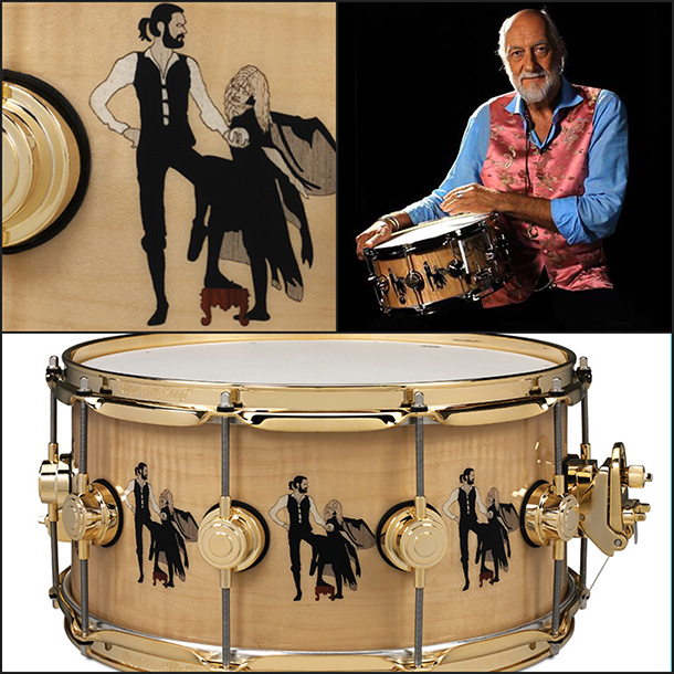 "Fleetwood Mac drummer Mick Fleetwood and the Drum Workshop snare drum ""Rumours"" created in his honor."