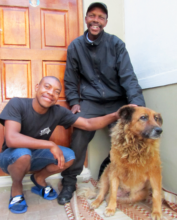 Ronney, pictured here with guardians Abongile and Mlungisi Mnqasela, was picked up by Premier Helen Zille while campaigning and brought to Mdzananda for treatment.