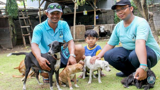 Mitglieder der Fakultät für Gesundheitswesen der Universität Udayana kümmern sich liebevoll um kürzlich gerettete Welpen. Diese Hunde wurden mit Hilfe des neuen Dharma-Programms des IFAW gerettet.