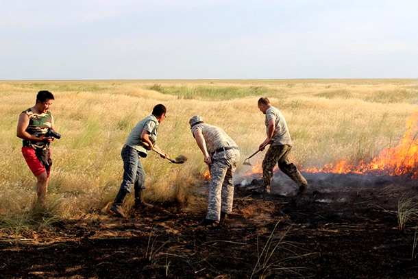 "Staff of Stepnoy Sanctuary and ""Chyornye Zemli"" Nature Reserve extinguish a smaller fire."