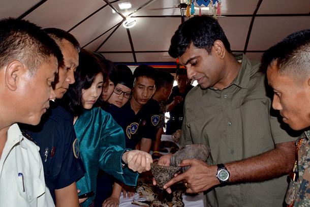Examining fake rhino horn