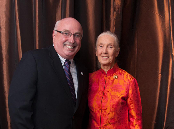 Azzedine Downes and Jane Goodall at her 80th birthday celebration event in San Francisco, CA, April, 2014