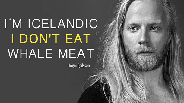 Artists Högni Egilsson (pictured), Sóley, Sindri and DJ Margeir can be found on the ifaw.is homepage declaring that they are Icelandic and don't eat whale meat.