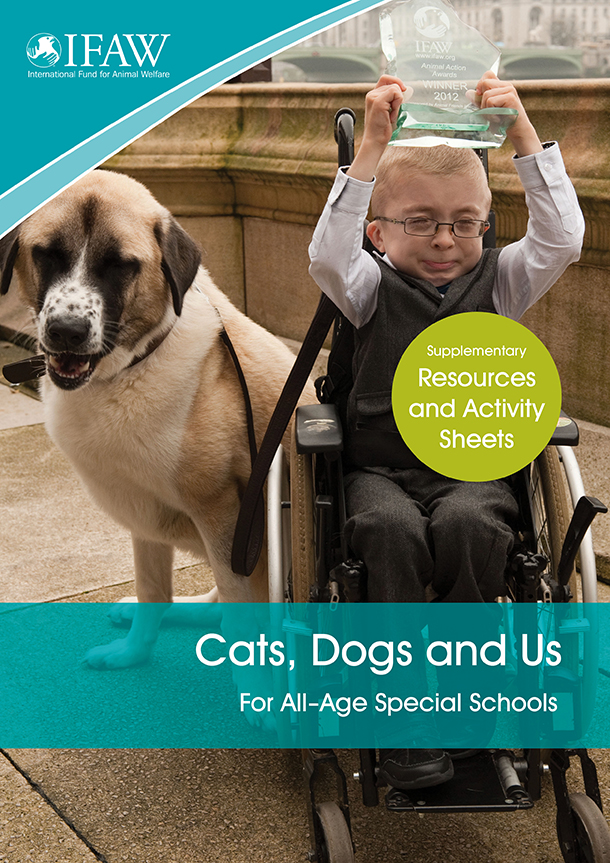 On the cover of the Cats, Dogs and Us materials are seven-year-old boy Owen and his dog Haatchi, who won the 2012 Animal Action Awards Animal of the Year for his work helping young Owen.