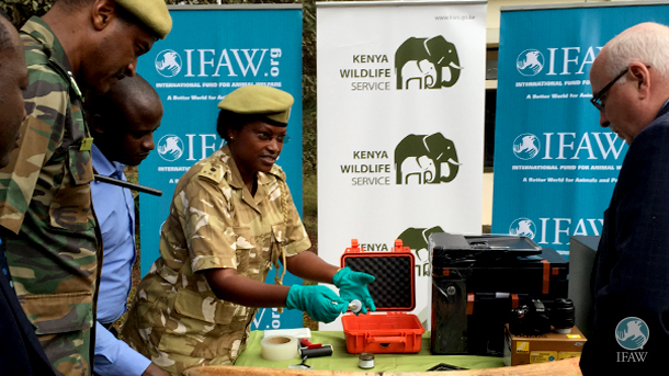 KWS senior investigations officers demonstrate the new ivory fingerprinting kit for KWS Director General Kitili Mbathi and the author.
